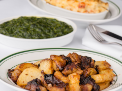 German Potatoes, Creamed Spinach, Lobster Mac & Cheese